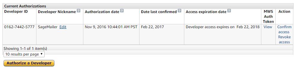 Amazon Current Authorizations